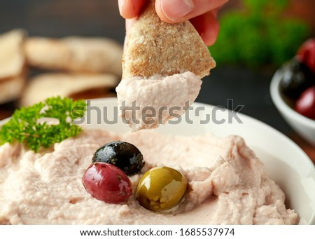 Taramasalata dip with pita bread and olives Stok fotoğraf ©