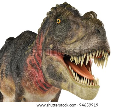 tarbosaurus running free - stock photo