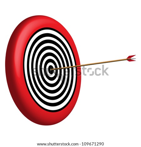 target and arrow against white background, abstract art illustration
