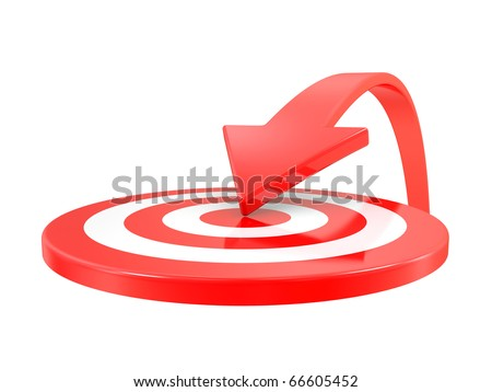 Target and arrow isolated on a  white background