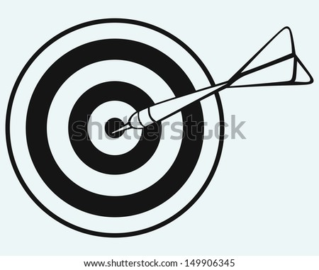 Target and arrows isolated on blue background. Raster version
