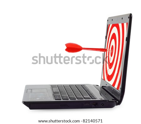 Target and dart through a laptop. isolated over white background - stock photo