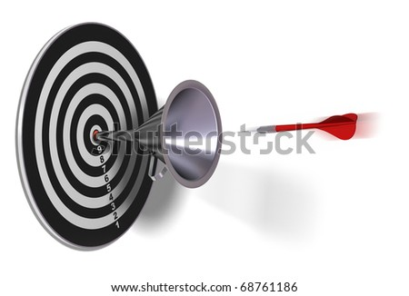 target and funnel with a red dart in motion