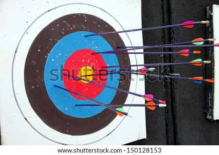 Target archery and many arrow after shoot.