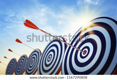 Target boards with arrows at sunset - 3D illustration