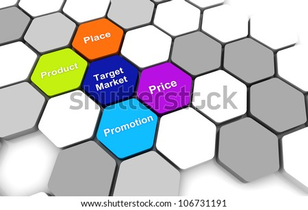 Target Business Plan 3D rendering Diagram connection beehive background
