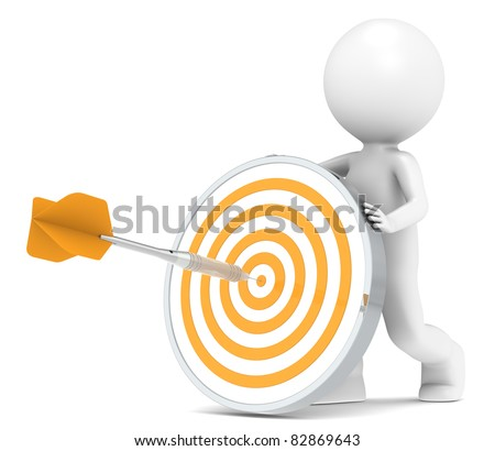 Target. 3D little human character with a Dart Board. Orange and Steel Dart