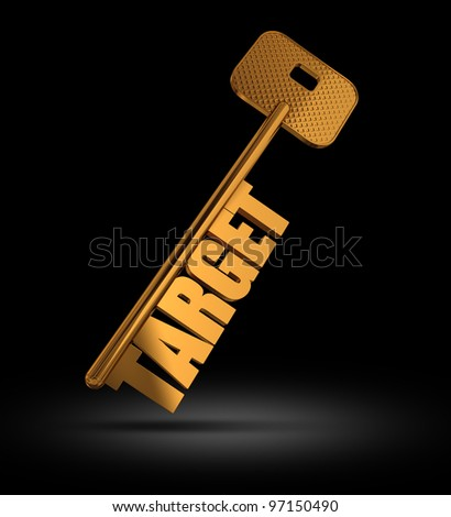 Target gold key on black background - Gold key with Target text as symbol for success in marketing - Conceptual image