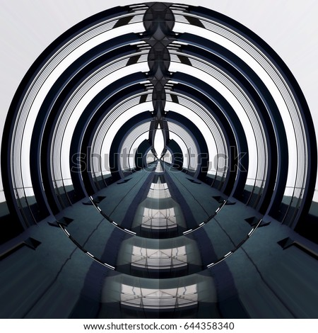Target-like concentric structure. Reworked close-up photo of modern architecture fragment resembling domed roof or ceiling.