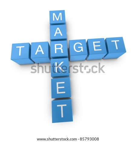 Target market crossword on white background, 3D rendered illustration
