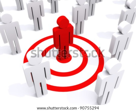 Target of perfection, standing out from the crowd, center of attention concept - stock photo