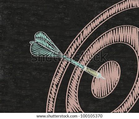 Target with arrow, dart written on blackboard background high resolution