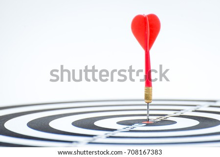 Target with arrow in the center on a white background