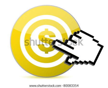 Target with dollar currency sign illustration with a hand cursor illustration
