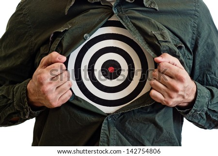 Targeting customers concept. Dartboard on man's chest.