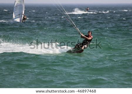 TARIFA - JULY 5: Participants in Movistar International Championships of Kite surfing on July 5, 2008 in Tarifa, Spain.