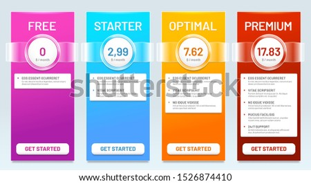 Tariff comparison list. Tariffs plans, price banners and choice prices plan banner template. Pricing services interface, business tariff discount page  illustration set