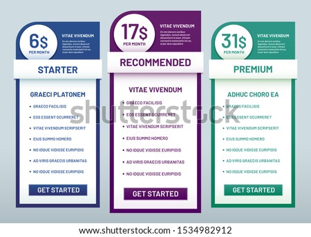 Tariff plans comparison. Recommended tariffs, price list banners and prices plan template. Website business infographics, pricing graphic or comparative columns  illustration set