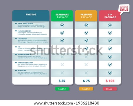 Tariff plans. Web ui template offers columns charts selection pricing discount service comparison ストックフォト ©