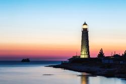 Tarkhankut Lighthouse, coast of Black sea, Crimea. the westernmost point of the Crimean peninsula