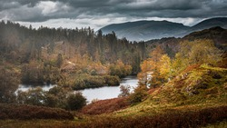 Tarn Hows in autumn.Painterly landscape scene in Lake District, Cumbria,UK.Cloudy sky over scenic mountain valley, lake and hills with trees lit by sunlight.Idyllic scenery.
