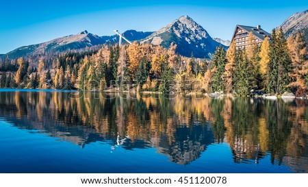 Tarn Strbske pleso at Slovakia. High Tatras mountains Stockfoto ©