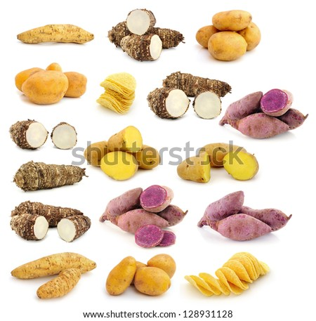 taro roots , sweet potatoes , Potato chips on white background