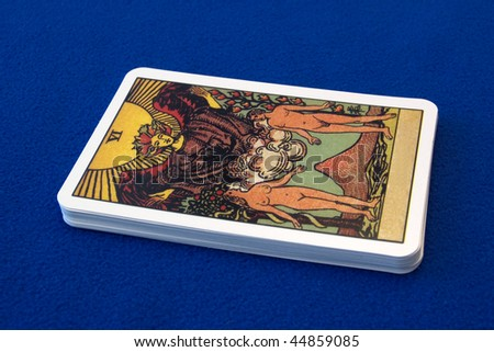 Tarot cards -love- on a blue background. - stock photo