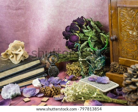 Tarot cards, witchcraft, dried flowers, magic, natural stones, old books #797813854