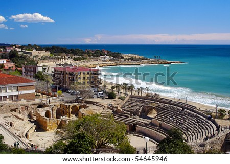 Tarragona Coast - Roman Amphitheatre, Spain Stock Photo 54645946 ...