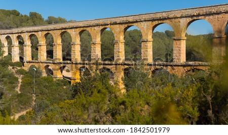 Tarragona famous bridge Puento del diablo at sunny day view, Spain.. Foto stock ©