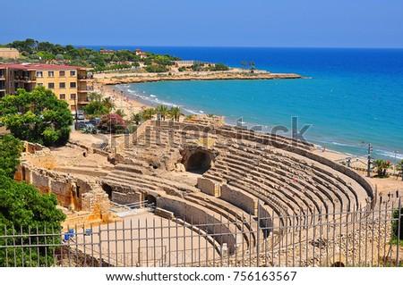 Tarragona Roman Amphitheater in Spain Zdjęcia stock ©