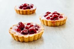 Tart , pie , cake with jellied fresh berries on a grey stone background.