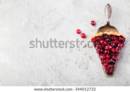 Tart , pie , cake with jellied fresh cranberries, bilberries and winter spices on a grey stone background. Copy space