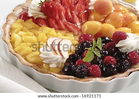 Tart with Different Kinds of Fruit - stock photo