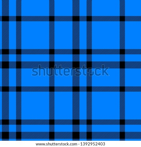 Tartan seamless plaid pattern illustration in black and blue combination for textile design for textile design for textile design for textile design. Trendy tiling illustration for wrapping papers