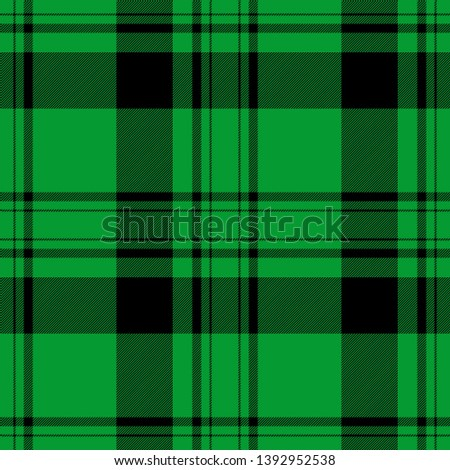 Tartan seamless plaid pattern illustration in black and green combination for textile design for textile design for textile design. Trendy tiling illustration for wrapping papers