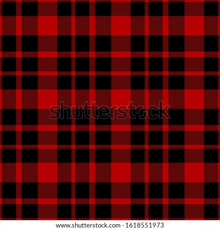 Tartan seamless plaid pattern illustration in black and red combination for textile design for textile design. Trendy tiling illustration for wrapping papers