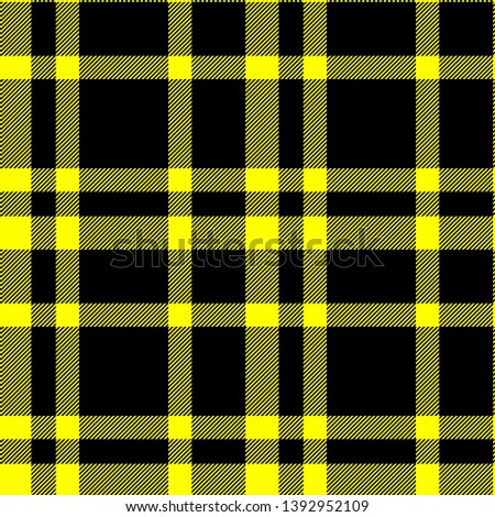 Tartan seamless plaid pattern illustration in black and yellow combination for textile design for textile design for textile design for textile design. Trendy tiling illustration for wrapping papers #1392952109