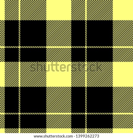Tartan seamless plaid pattern illustration in black and yellow combination for textile design for textile design for textile design for textile design. Trendy tiling illustration for wrapping papers