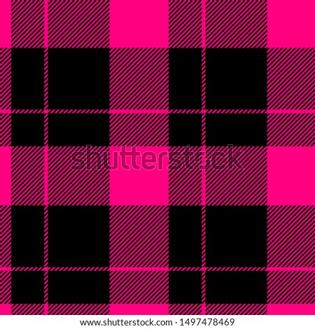 Tartan seamless plaid pattern illustration in pink and black combination for textile design for textile design for textile design for textile design. Trendy tiling illustration for wrapping papers