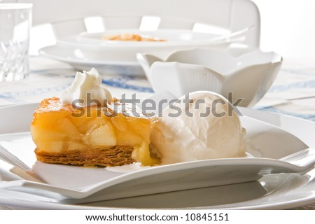 Tarte Tatin, famous French dessert : applepie with ice-cream - stock photo