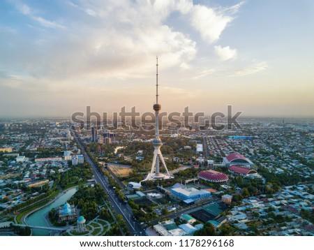 Tashkent TV Tower Aerial Shot During Sunset in Uzbekistan taken in 2018