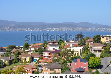 Tasmanian sea view landscape with family houses