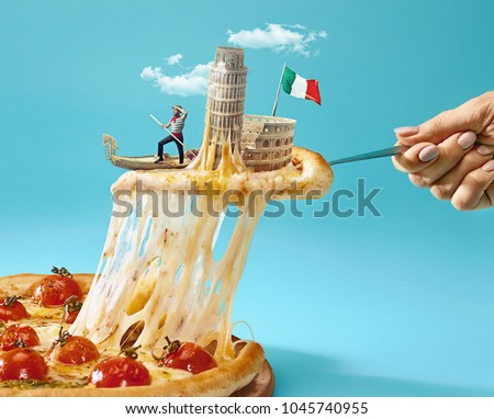 Taste Italy concept. The collage about Italy with female hand, gondolier, pizza and major sights. Travel, tourism concepts.