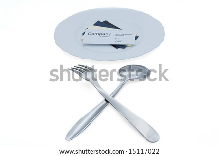 Taste new candidates! (business cards on plate, fork and spoon)