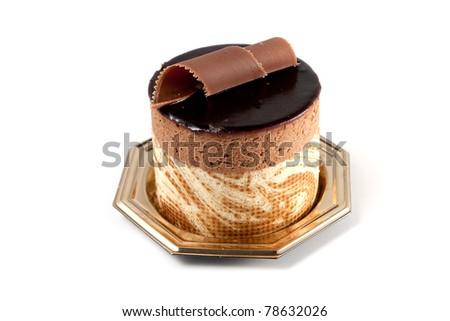 Tasteful Chocolate Pastry mousse isolated on white background