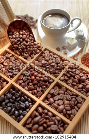 tasting coffee. Arabica Coffee, Brazilian Coffee, Coffee Kenya, Colombian Cofee, roasted coffee, Costa Rica Coffee, Ethiopian coffee, Coffee of Jamaica, Indonesian Coffee, coffee mocha