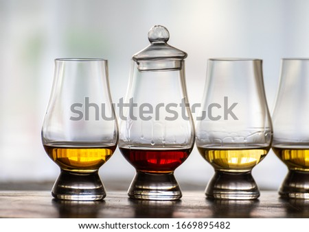 Tasting of flight of Scotch whisky from special tulip-shaped glasses on distillery in Scotland, UK close up Stock photo ©