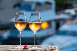Tasting of local cold rose wine in summer